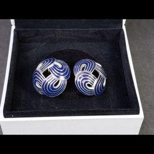 Vintage Vendome Silver Tone-Blue Earrings